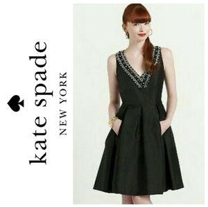 6 Kate Spade Fit Flare silk beaded dress embellish